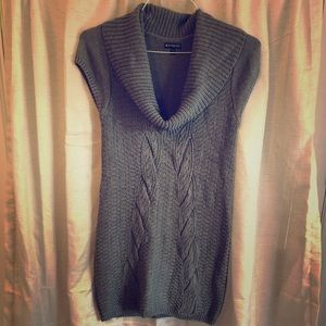 Gray cowl neck sweater dress